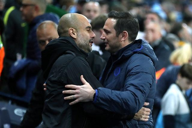 Pep Guardiola (left) and Lampard greet each other ahead of the match (Nick Potts/PA)