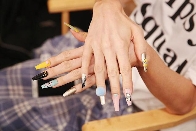 <p>This nail art is not for shrinking violets. (Photo: Mireya Acierto/Getty Images) </p>
