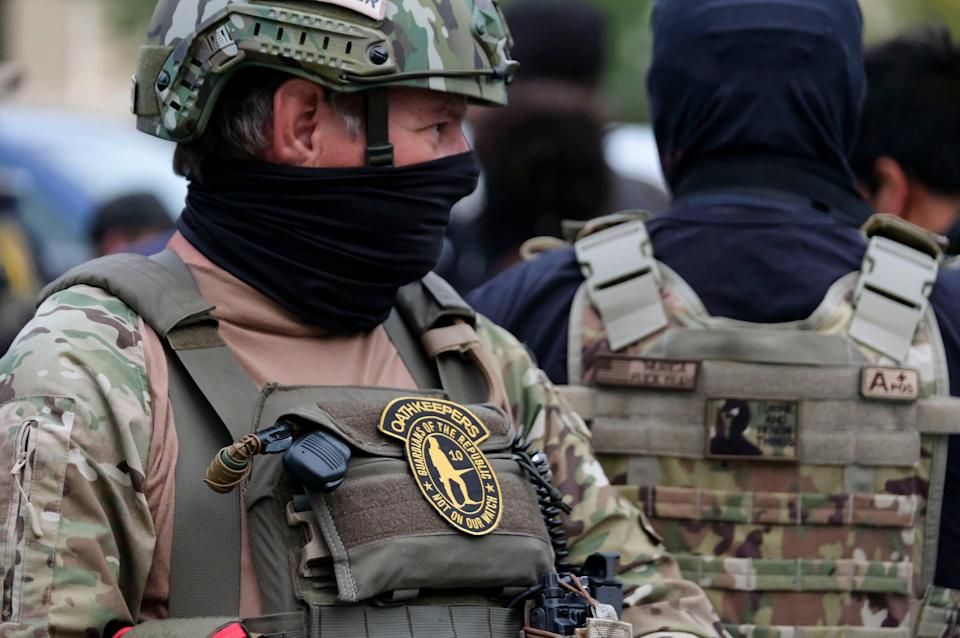 The Oath Keepers are among a number of far-right groups planning to position themselves outside polling stations on election day (AFP via Getty Images)