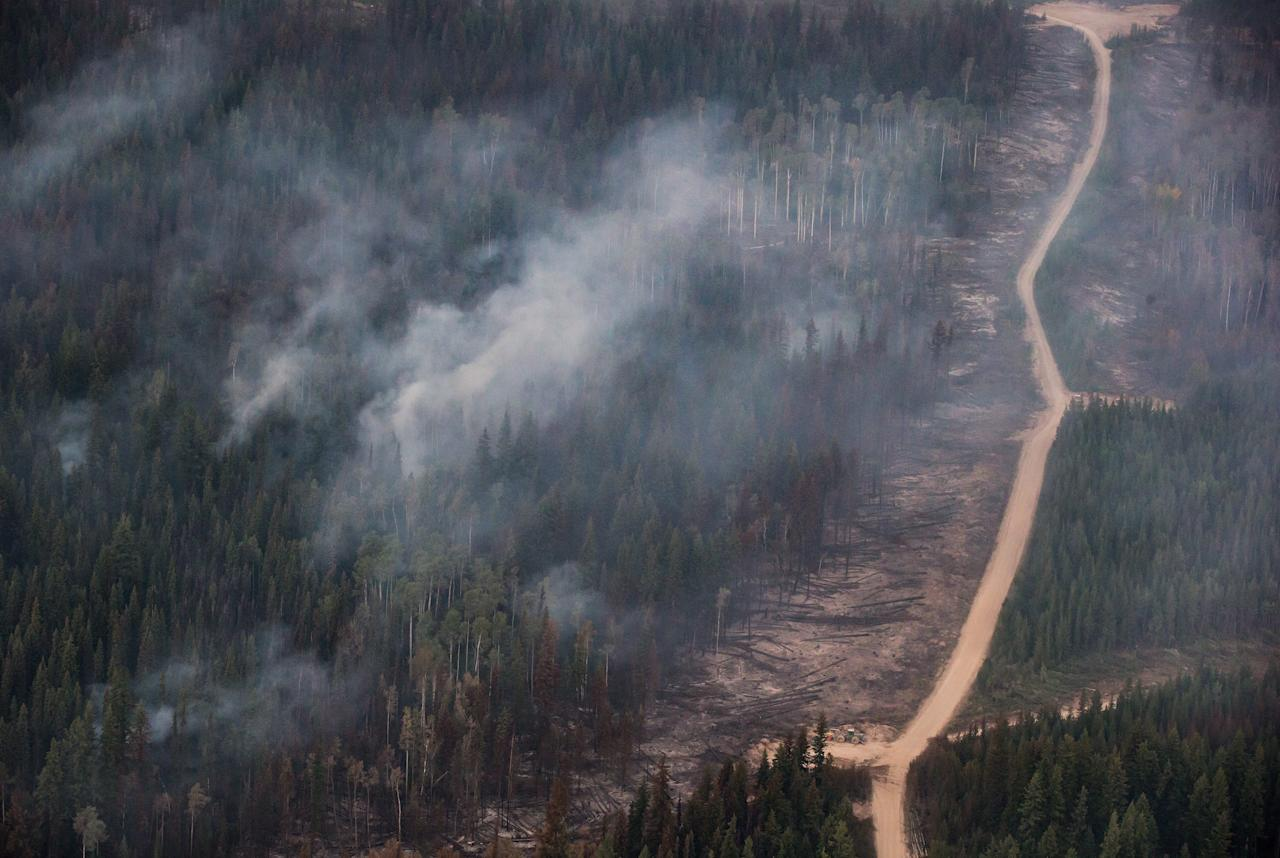 <p>A fire break is seen in an area where a controlled burn was conducted to keep the Shovel Lake fire from reaching the Nadleh Whut'en First Nation in Fort Fraser, B.C., on Thursday, Aug. 23, 2018.<br />(Photo by Darryl Dyck, The Canadian Press) </p>