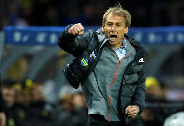 New head coach Juergen Klinsmann has upped the fitness work at Hertha Berlin in their bid to escape a third relegation from the Bundesliga in the last decade. (AFP Photo/Odd ANDERSEN)