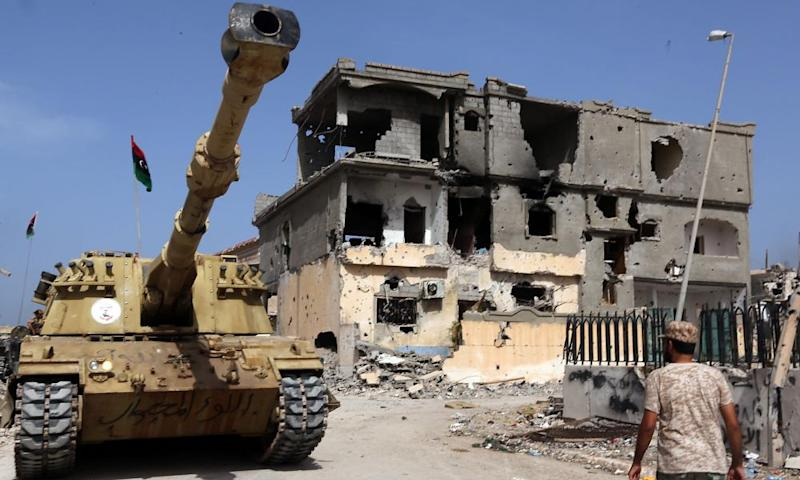A destroyed building in Sirte
