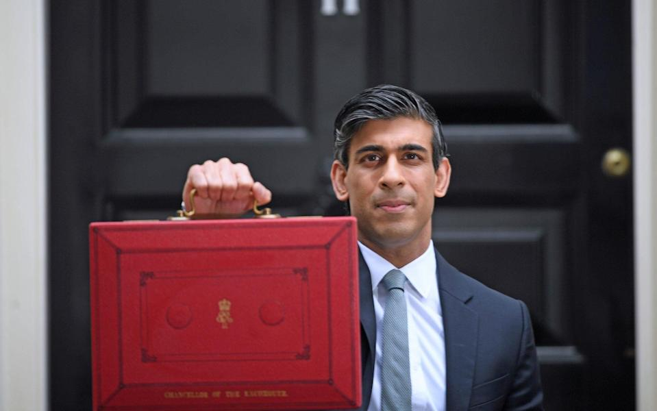 rishi sunak and the budget box - PA