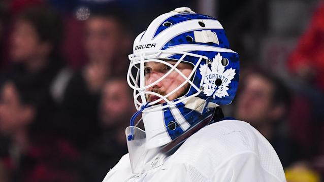 Goaltender Michael Hutchinson will be returning to the backup role with the Maple Leafs. (Photo by David Kirouac/Icon Sportswire)