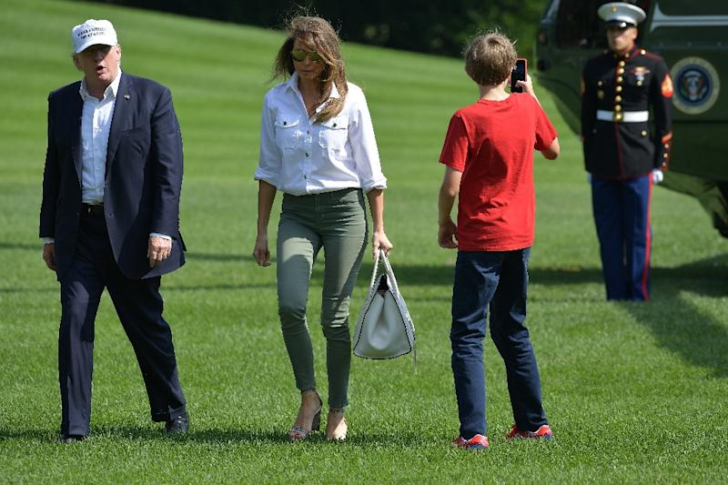 Trump, First Lady Melania and their son Barron return to the White House after spending Father's Day weekend at the Camp David presidential retreat (AFP Photo/MANDEL NGAN)