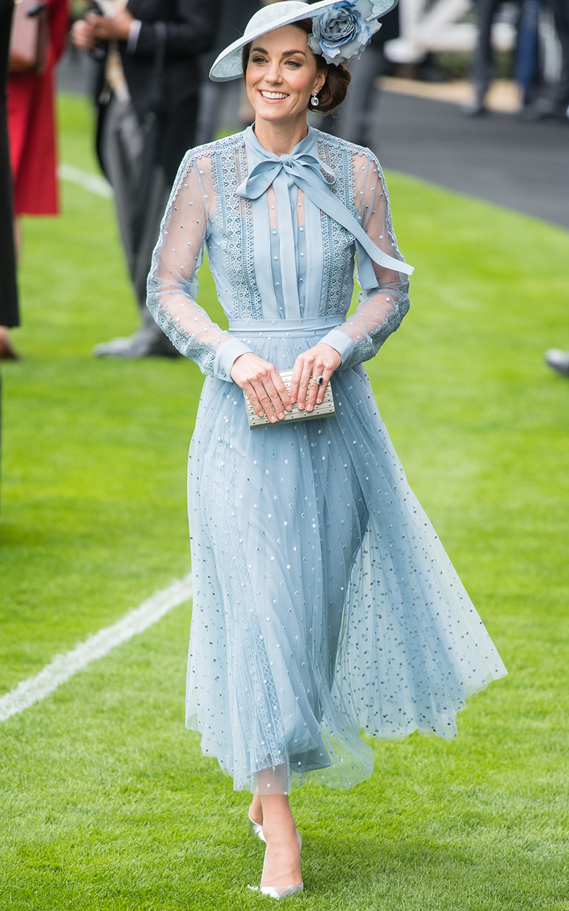 <p>Kate attended Royal Ascot in June 2019 wearing a more sheer version of the baby blue pleated ensemble. </p>