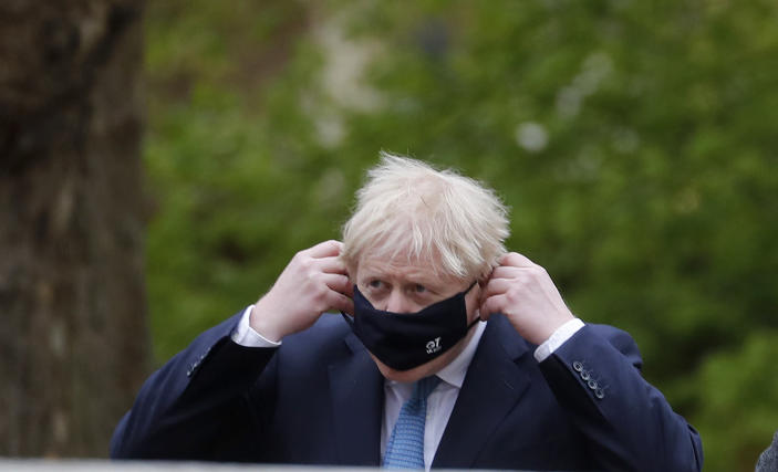 Britain's Prime Minister Boris Johnson arrives at the G7 foreign ministers' meeting in London, Wednesday, May 5, 2021. Foreign ministers from the Group of Seven wealthy industrialized nations gather in London to grapple with threats to health, prosperity and democracy. It is their first face-to-face meeting in more than two years. (AP Photo/Frank Augstein, pool)