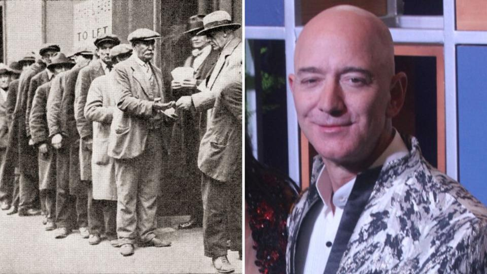 Long Depression-era unemployment queue on the left and Amazon founder Jeff Bezos on the right.