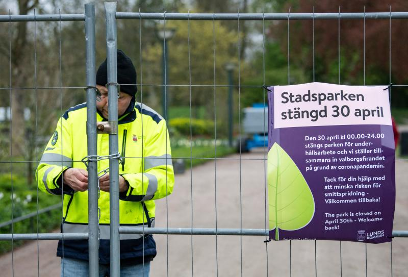 The City park (Stadsparken) is closed in Lund, Sweden, on April 30, 2020, amid the novel coronavirus COVID-19 pandemic. - Garden workers fertilized lawns with chicken manure in an attempt to aviod residents from gathering there for the traditional celebrations to mark Walpurgis Night. (Photo by Johan NILSSON / TT News Agency / AFP) / Sweden OUT (Photo by JOHAN NILSSON/TT News Agency/AFP via Getty Images)