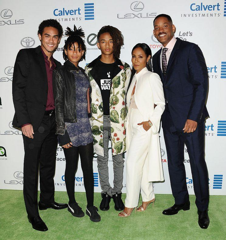 The Smiths — Trey, Willow, Jaden, Jada Pinkett, and Will — at the 26th annual EMA Awards on Oct. 22. (Photo: Jason LaVeris/FilmMagic)