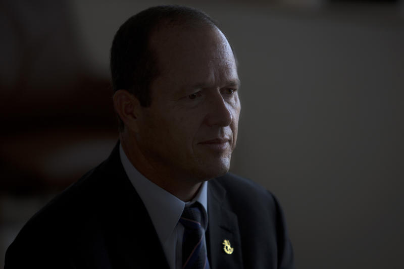 Jerusalem Mayor Nir Barkat is seen during an interview with The Associated Press at his office in Jerusalem, Tuesday, Sept. 3, 2013. Barkat said any partition of the city as part of a future peace agreement will not work, insisting only a united city could function and thrive. (AP Photo/Sebastian Scheiner)