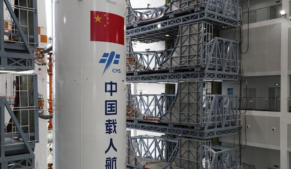 The core module of China's space station, Tianhe, and the Long March-5B Y2 rocket are seen being transported to the launching area of the Wenchang Spacecraft Launch Site in Hainan province on April 23. Photo: Xinhua
