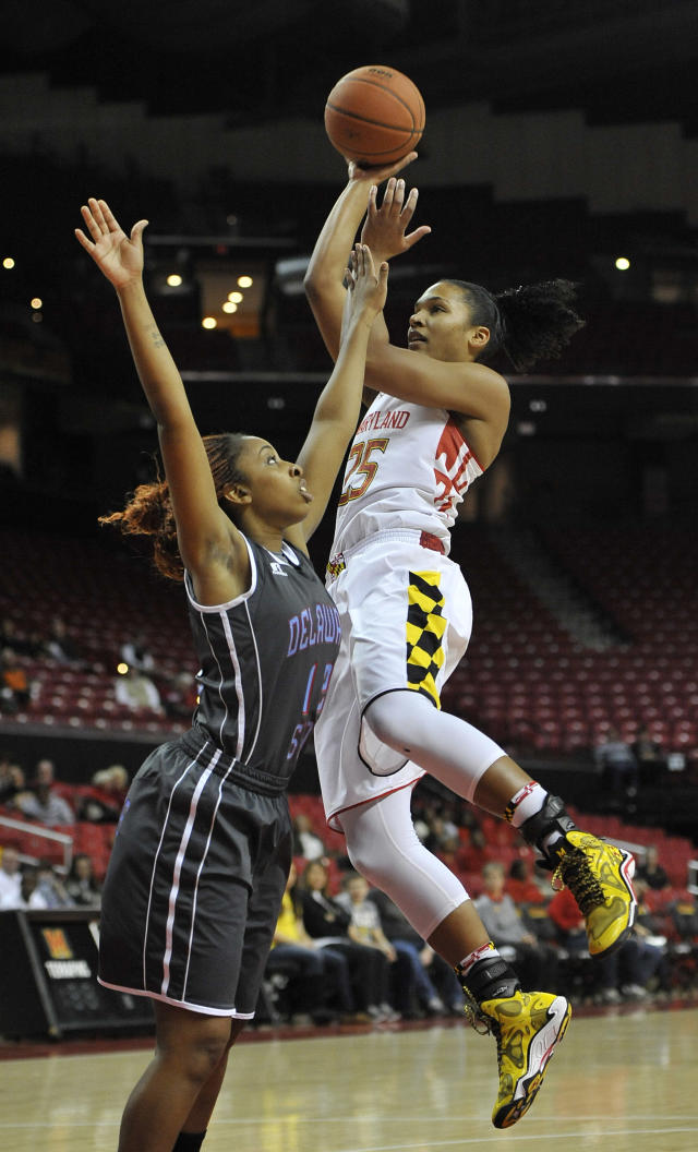 Delaware State's Deanna Harmon, left, defends the basket as Maryland's Alyssa Thomas shoots during the first half of an NCAA college basketball game on Saturday, Dec. 14, 2013, in College Park, Md.(AP Photo/Gail Burton)