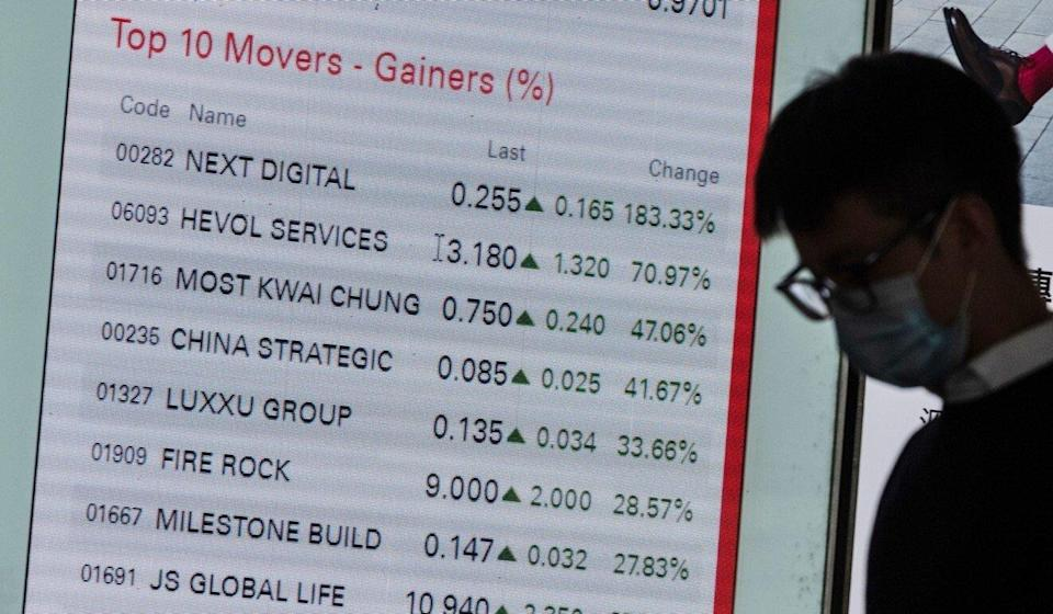 A pedestrian wearing protective mask walks past an electronic screen displaying the share price of Next Digital on August 10, 2020 when its share price soars. Photo: Bloomberg