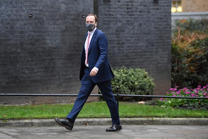 Heath Secretary Matt Hancock arriving in Downing Street the morning after Prime Minister Boris Johnson set out further measures as part of a lockdown in England in a bid to halt the spread of coronavirus.