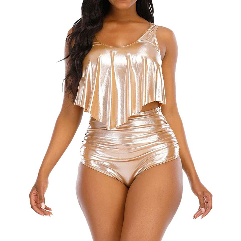 Kylie Jenner Gold Bathing Suit