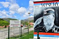 'The town of a hero,' reads a mural at the entrance to Mladic's hometown, Kalinovik