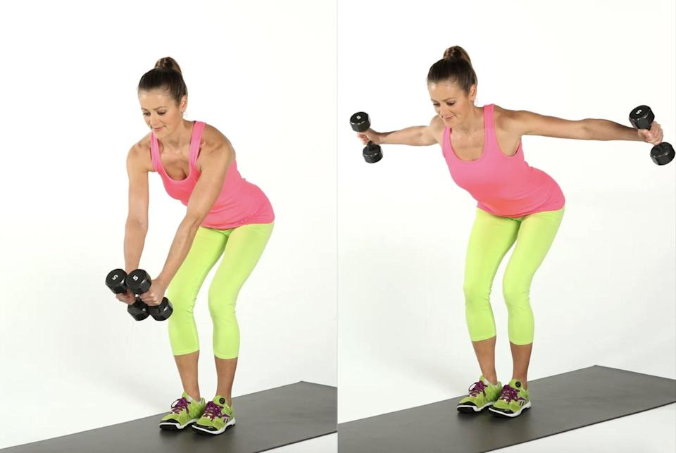 """<p>This move strengthens your upper back, Mack said, which can help improve your posture. If you prefer not to get into the bent-over position, he recommended trying the <a href=""""https://www.popsugar.com/fitness/photo-gallery/47543739/image/47543741/Resistance-Band-Pull-Apart"""" class=""""link rapid-noclick-resp"""" rel=""""nofollow noopener"""" target=""""_blank"""" data-ylk=""""slk:resistance-band pull-apart"""">resistance-band pull-apart</a> instead.</p> <ul> <li>Start standing with your feet shoulder-width apart, holding a dumbbell in each hand with a neutral grip.</li> <li>Hinge forward from your hips so that your torso is parallel to the floor. Bend your knees slightly and extend your arms to hold the dumbbells directly below your chest. This is your starting position.</li> <li>Maintain a slight bend in your elbows and raise the dumbbells outward and upward from below your chest until they reach shoulder height. You should feel a small squeeze between your shoulder blades.</li> <li>On an inhale, gently lower the dumbbells to the starting position.</li> <li>This counts as one rep.</li> </ul>"""