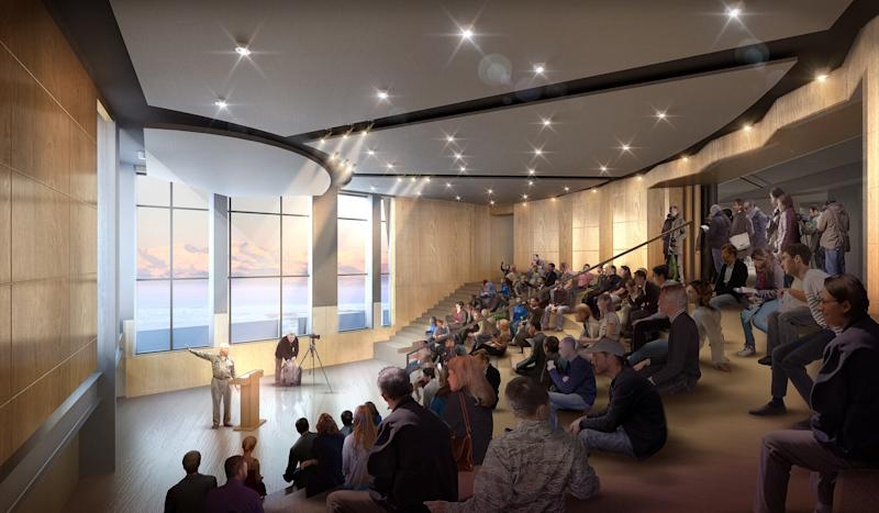 At the future McMurdo Station, a lecture hall can serve formal and informal purposes. Warm-toned wood was chosen for the interiors throughout.