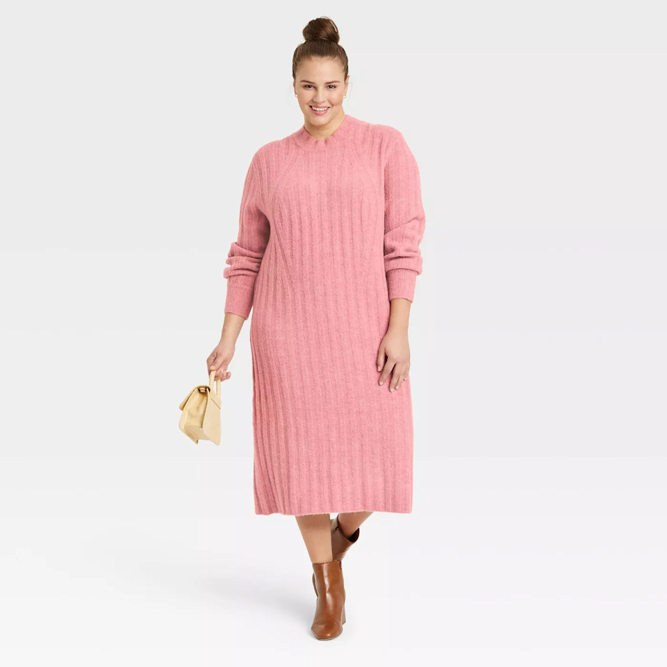 """<h2>A New Day Women's Longsleeve Ribbed Knit Sweater Dress </h2><br><strong>Best Plus-Sized Ribbed Knit Sweater Dress</strong><br><em>Size Range: 1X-4X </em> <br><br>A ribbed knit is a cold-weather must-have. This cozy dress gets rave reviews from shoppers who like that it is both """"really comfy"""" and """"classy."""" Watch out on sizing for this dress; some customers note that it runs big. <br><br><em>Shop <strong><a href=""""https://go.skimresources.com/?id=30283X879131&isjs=1&jv=15.2.0-stackpath&sref=https%3A%2F%2Fwww.refinery29.com%2Fen-us%2Fplus-size-sweater-dresses%23slide-1&url=https%3A%2F%2Fgoto.target.com%2Fmg2AVy&xguid=01ERGDHBXNJ489J9KBAH8RZJH0&xs=1&xtz=240&xuuid=13a7fbd9948972339c551d8b8235af4b&xjsf=other_click__contextmenu%20%5B2%5D"""" rel=""""nofollow noopener"""" target=""""_blank"""" data-ylk=""""slk:Target"""" class=""""link rapid-noclick-resp"""">Target </a></strong></em><br><br><strong>A New Day</strong> Women's Long Sleeve Ribbed Knit Sweater Dress - A New Day™, $, available at <a href=""""https://go.skimresources.com/?id=30283X879131&url=https%3A%2F%2Fgoto.target.com%2Fmg2AVy"""" rel=""""nofollow noopener"""" target=""""_blank"""" data-ylk=""""slk:Target"""" class=""""link rapid-noclick-resp"""">Target</a>"""