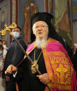 Ecumenical Patriarch Bartholomew I, blesses parishioners in the Mikhailovsky Zlatoverkhy Cathedral (St. Michael's Golden-Domed Cathedral) in Kyiv, Ukraine, Saturday, Aug. 21, 2021. Bartholomew I, arrived to Kyiv to mark the 30th anniversary of Ukraine's independence that is celebrated on Aug. 24. (AP Photo/Efrem Lukatsky)
