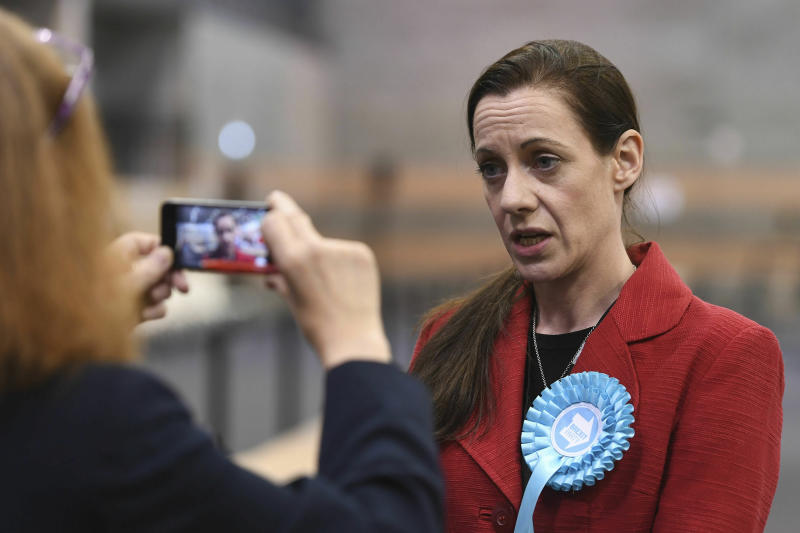 Brexit Party candidate Annunziata Rees-Mogg at the European Parliamentary elections count at the Kettering Conference Centre in Kettering, England, Sunday May 26, 2019. (Joe Giddens/PA via AP)