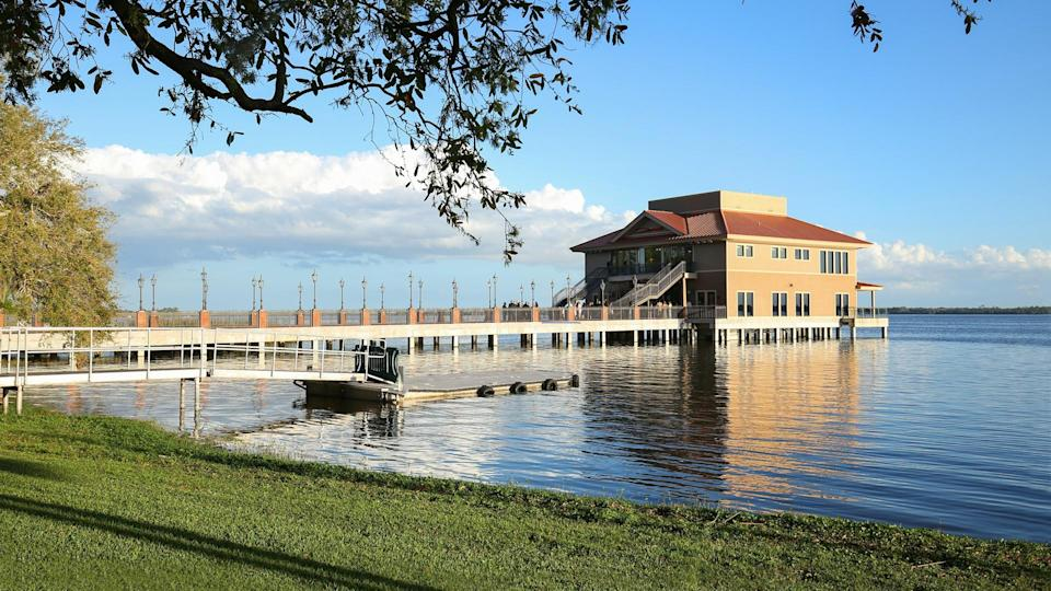 Beautiful waterfront view at Tavares, a family oriented city close to Mount Dora and Eustis located in the central portion of the state of Florida.