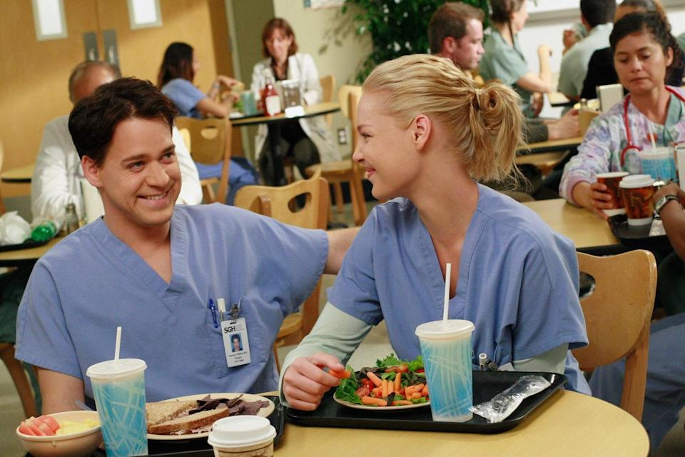 """<p>Here's another example of a TV coupling gone wrong. Izzie (Katherine Heigl) was one of <em>Grey's</em> best characters—until <a href=""""https://www.youtube.com/watch?v=V90VgHeLuPs"""" rel=""""nofollow noopener"""" target=""""_blank"""" data-ylk=""""slk:she hooked up with BFF George"""" class=""""link rapid-noclick-resp"""">she hooked up with BFF George</a> (T.R. Knight) and we had to look away from our televisions. Yes, their drunken sex was may have been an interesting twist, but anything more than that? No, thanks. We think Shonda Rhimes is a genius, but this was one pairing we could have gone without.</p> <p><a href=""""https://www.netflix.com/title/70140391"""" rel=""""nofollow noopener"""" target=""""_blank"""" data-ylk=""""slk:Streaming available on Netflix"""" class=""""link rapid-noclick-resp""""><em>Streaming available on Netflix</em></a></p>"""