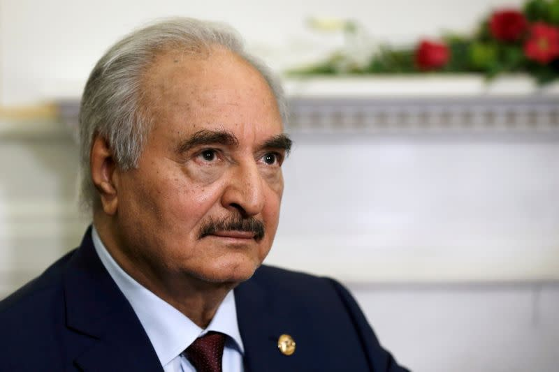 FILE PHOTO: Libyan commander Khalifa Haftar meets Greek Foreign Minister Nikos Dendias at the Foreign Ministry in Athens