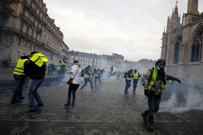 The Yellow Vests protested in Bordeaux at the weekend (Picture: Reuters)