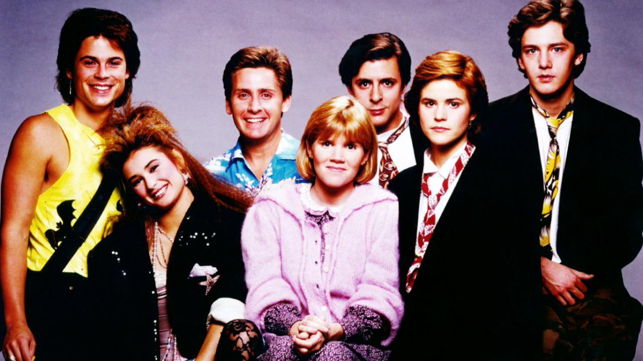 """'St. Elmo's Fire,' one of the quintessential """"Brat Pack"""" movies, opened on June 28, 1985. Joel Schumacher's film followed a group of college friends through the rocky realities of post-graduation life. The young cast featured (from left to right) Rob Lowe, Demi Moore, Emilio Estevez, Mare Winningham, Judd Nelson, Ally Sheedy, and Andrew McCarthy. Click through to see a gallery of the cast then and now."""