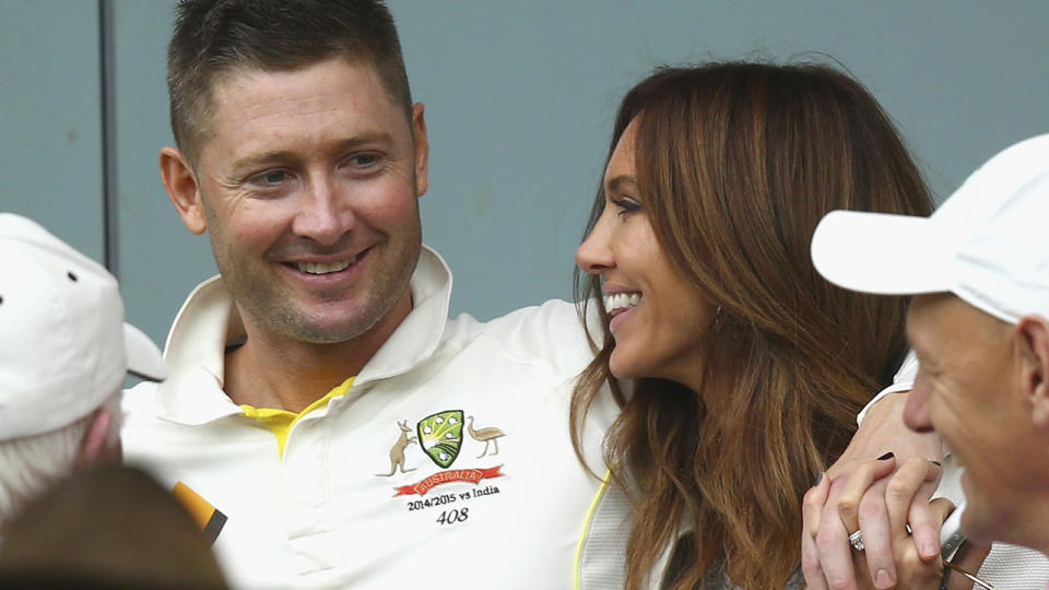 Michael and Kyly Clarke, pictured here during a Test match in 2014.