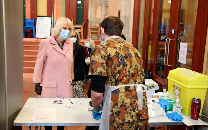 The Duchess of Cornwall met staff and volunteers at a community vaccination centre at St Paul's Church in Croydon oon Wednesday - PA