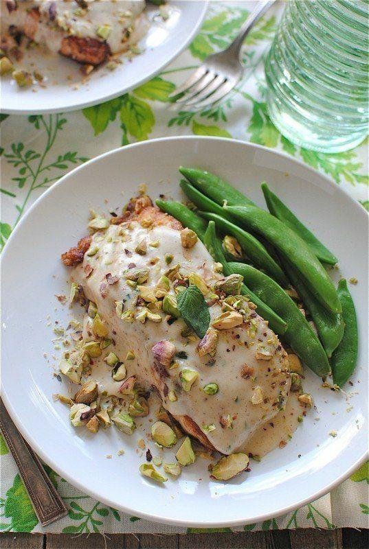 """<strong>Get the <a href=""""http://bevcooks.com/2012/10/pan-seared-salmon-with-a-pistachio-mint-cream-sauce/"""" target=""""_blank"""">Pan-Seared Salmon with a Pistachio Mint Cream Sauce recipe</a> from Bev Cooks</strong>"""