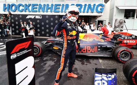 Race winner Max Verstappen of Netherlands and Red Bull Racing celebrates in parc ferme during the F1 Grand Prix of Germany at Hockenheimring on July 28, 2019 in Hockenheim, Germany - Credit: Getty Images Europe