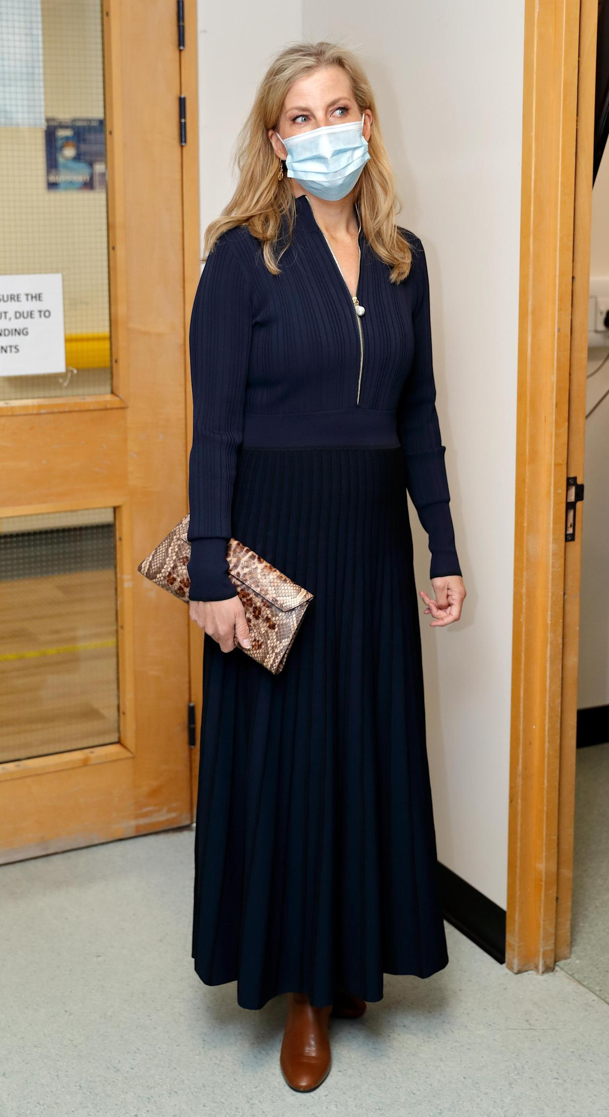 Sophie, Countess of Wessex opted for a minimalist, professional yet casual look, when she visited Frimley Park Hospital to mark International Nurses Day on May 12, 2021 in Camberley, England. (Getty Images)