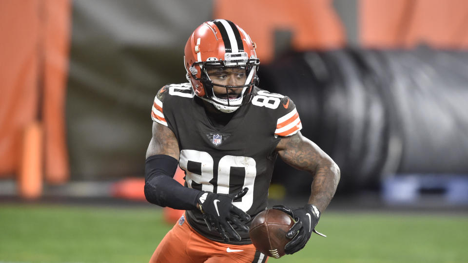 Cleveland Browns wide receiver Jarvis Landry runs with the ball during an NFL football game against the Baltimore Ravens, Monday, Dec. 14, 2020, in Cleveland. The Ravens won 47-42. (AP Photo/David Richard)