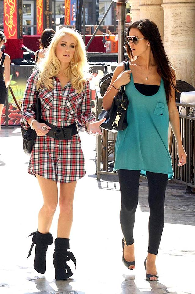 """LC's former arch nemesis Heidi Montag bombs in a belted button-down. Butterworth/Symons/<a href=""""http://www.pacificcoastnews.com/"""" target=""""new"""">PacificCoastNews.com</a> - October 16, 2008"""
