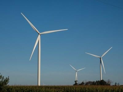 Wind turbines at one of DTE's 14 wind parks.