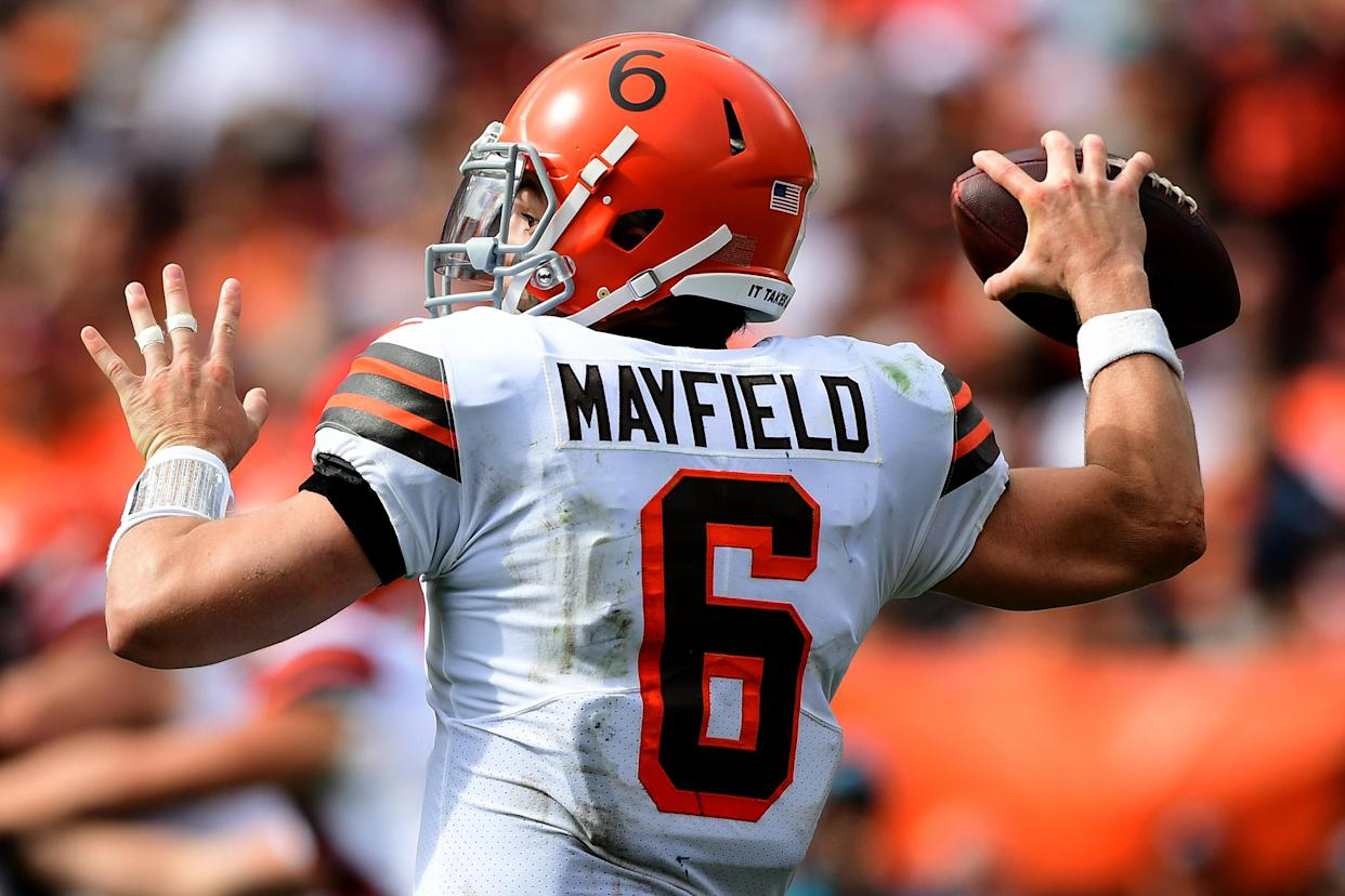 CLEVELAND, OHIO - SEPTEMBER 26: Baker Mayfield #6 of the Cleveland Browns makes a pass during a game between the Cleveland Browns and Chicago Bears at FirstEnergy Stadium on September 26, 2021 in Cleveland, Ohio. (Photo by Emilee Chinn/Getty Images)