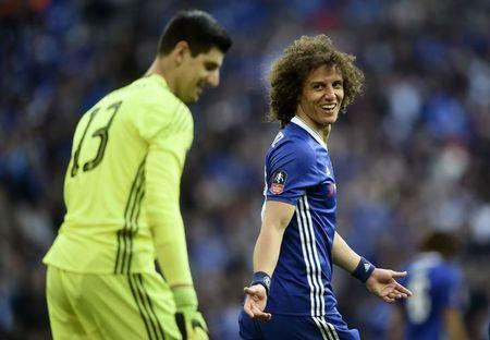 Britain Soccer Football - Tottenham Hotspur v Chelsea - FA Cup Semi Final - Wembley Stadium - 22/4/17 Chelsea's Thibaut Courtois smiles with David Luiz  Reuters / Hannah McKay Livepic