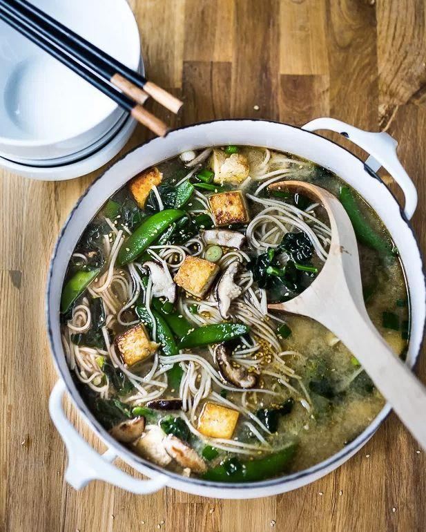 """<strong>Get the <a href=""""http://www.feastingathome.com/sesame-soba-noodle-soup-with-shiitakes-snap-peas-and-tofu/"""" target=""""_blank"""">Ginger Sesame Soba Noodle Soup recipe</a>&nbsp;from Feasting at Home</strong>"""