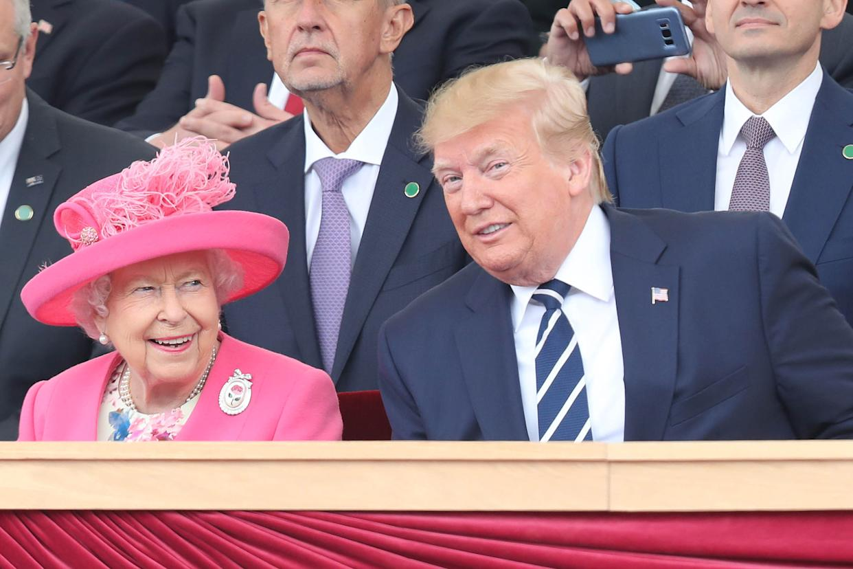 Queen Elizabeth II and US President Donald Trump during commemorations for the 75th Anniversary of the D-Day landings at Southsea Common, Portsmouth.