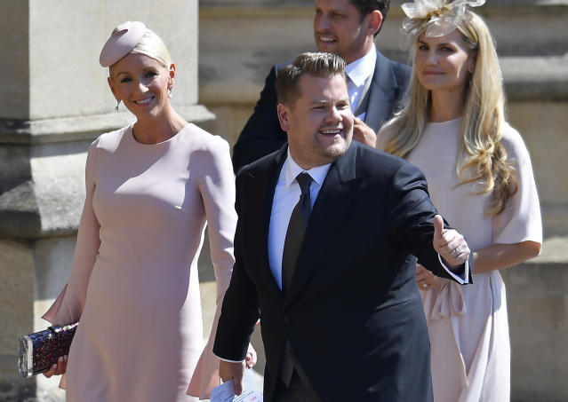 James Corden and wife Julia Carey attended the royal wedding. (Photo: Toby Melville/AFP/Getty Images)