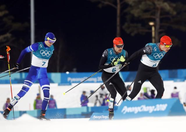 Nordic Combined Events - Pyeongchang 2018 Winter Olympics - Men's Individual 10 km Final - Alpensia Cross-Country Skiing Centre - Pyeongchang, South Korea - February 20, 2018 - Eero Hirvonen of Finland, Fabian Riessle of Germany and Eric Frenzel of Germany in action. REUTERS/Kai Pfaffenbach
