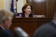 """Senate Rules Committee Chair Amy Klobuchar, D-Minn., presides over a markup of the """"For the People Act,"""" which would expand access to voting and other voting reforms, at the Capitol in Washington, Tuesday, May 11, 2021. The bill was already passed by Democrats in the House. (AP Photo/J. Scott Applewhite)"""