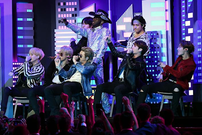 Lil Nas X and BTS perform onstage during the 62nd Annual Grammy Awards on January 26, 2020, in Los Angeles. (Photo: Robyn Beck/AFP via Getty Images)