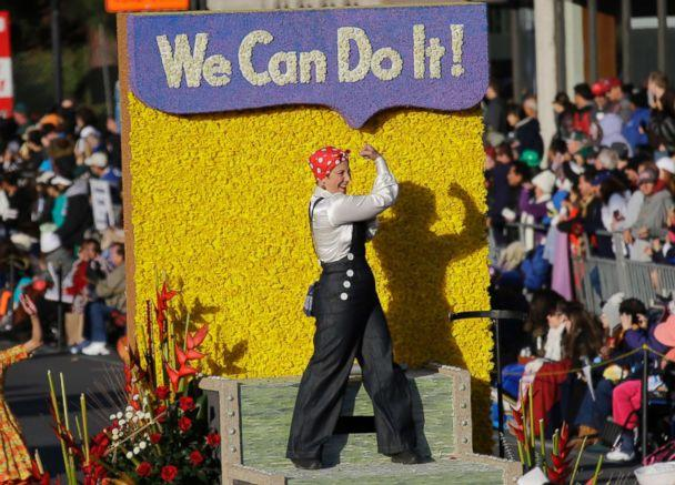 PHOTO: A Rosie the Riveter figure is seen aboard the Wells Fargo float in the 125th Rose Parade in Pasadena, Calif., Jan. 1, 2014. (Reed Saxon/AP)
