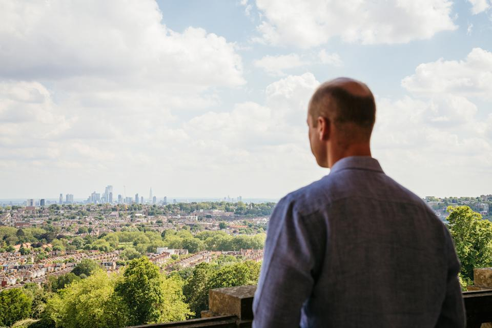 LONDON, ENGLAND - UNDATED: In this undated handout photo provided by Kensington Palace,  Prince William, Duke of Cambridge looks out across London from Alexandra Palace as he announces the inaugural Earthshot Prize Awards in London, England. The Earthshot Prize will hold its first-ever awards ceremony at Alexandra Palace on 17 October, featuring other famous landmarks across the UK's capital city as part of the historic event. Founded by Prince William in 2020 and inspired by President Kennedy's 'Moonshot', The Earthshot Prize is a global environmental prize which aims to discover and scale the best solutions to help repair our planet over the next 10 years. Every year from 2021 until 2030, The Earthshot Prize will find and reward inclusive solutions to five 'Earthshot' goals - Protect and restore nature; Clean our air; Revive our oceans; Build a waste-free world; and Fix our climate. Prize winners will each receive a £1 million prize fund and tailored support to scale their solutions. The finalists will be announced in July. (Photo by Kensington Palace via Getty Images)