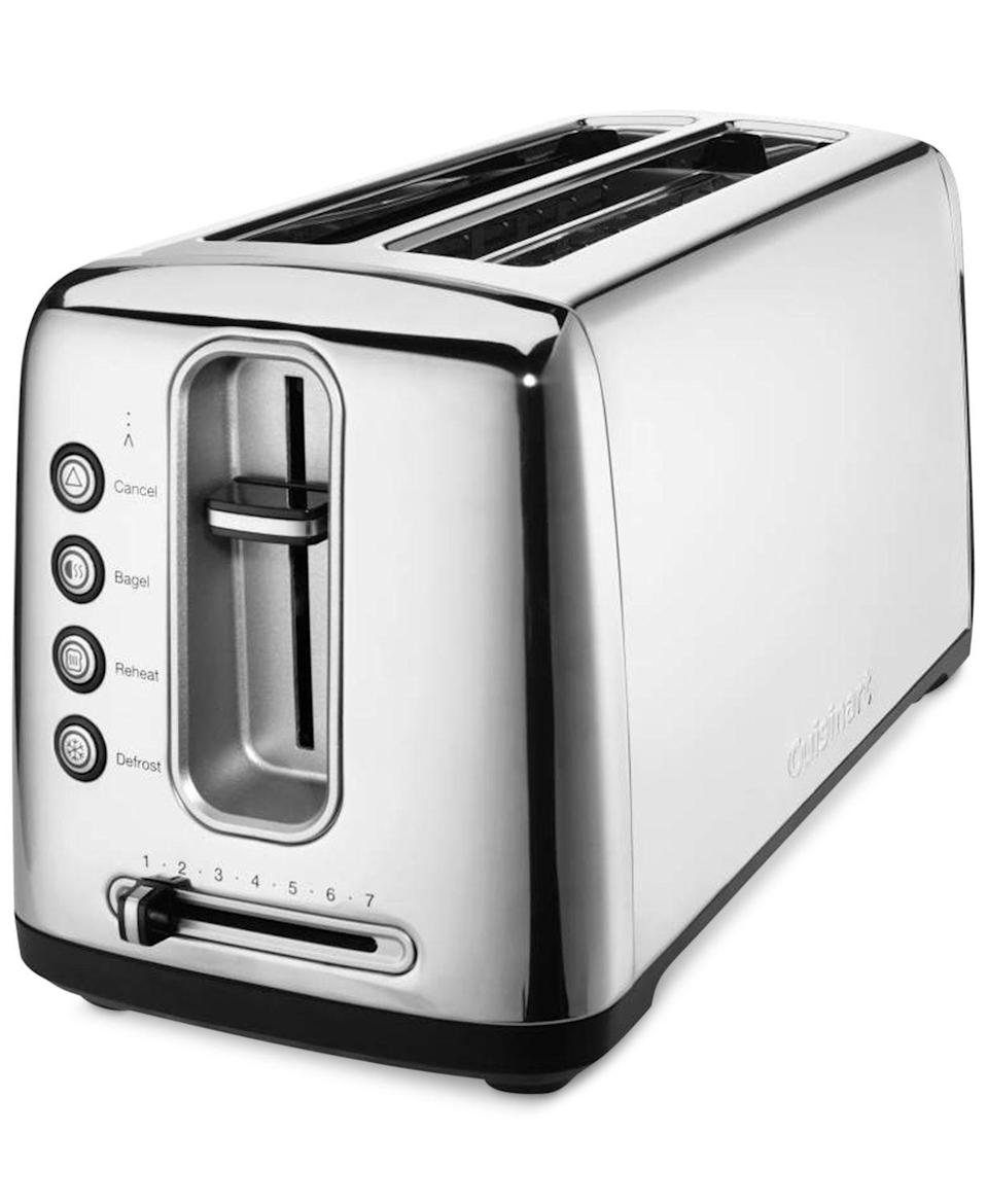 """<p><strong>Cuisinart</strong></p><p>williams-sonoma.com</p><p><strong>$79.99</strong></p><p><a href=""""https://go.redirectingat.com?id=74968X1596630&url=https%3A%2F%2Fwww.williams-sonoma.com%2Fproducts%2Fcuisinart-the-bakery-artisan-bread-toaster%2F&sref=https%3A%2F%2Fwww.goodhousekeeping.com%2Fappliances%2Ftoaster-reviews%2Fg4921%2Ftop-tested-toasters%2F"""" rel=""""nofollow noopener"""" target=""""_blank"""" data-ylk=""""slk:Shop Now"""" class=""""link rapid-noclick-resp"""">Shop Now</a></p><p>If there's always an unsliced homemade loaf of bread in your kitchen, clear room on your countertop for the stainless steel Cuisinart Bakery Artisan Toaster. It has two long slots that make it big enough for full slices of sourdough. <strong>In addition to toasting oversized slices, you could also toast four regular pieces of bread at once.</strong> The controls on this model are exceptionally easy to read. It also features a removable crumb tray. </p>"""